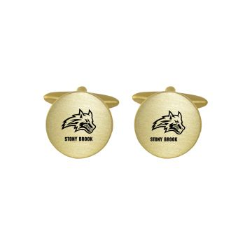 Brushed Metal Cuff Links-Stony Brook University-Gold