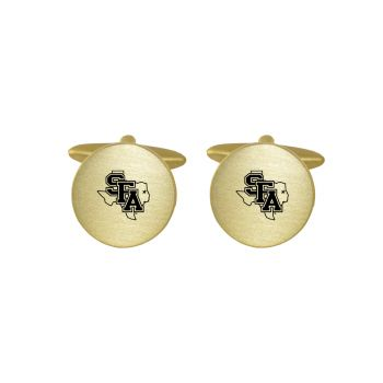 Brushed Metal Cuff Links-Stephen F. Austin State University-Gold