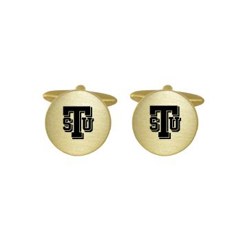 Brushed Metal Cuff Links-Tarleton State University-Gold