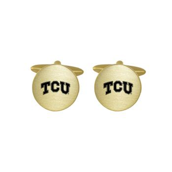 Brushed Metal Cuff Links-Texas Christian University-Gold