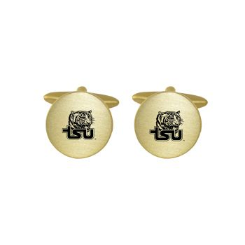 Brushed Metal Cuff Links-Tennessee State University -Gold