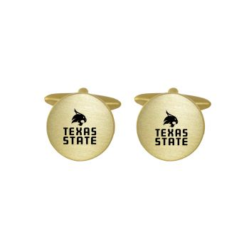 Brushed Metal Cuff Links-Texas State University-Gold