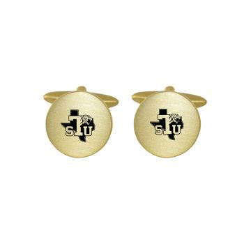 Brushed Metal Cuff Links-Texas Southern University-Gold