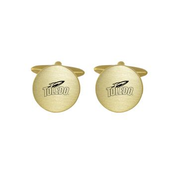 Brushed Metal Cuff Links-University of Toledo-Gold