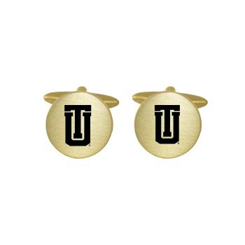 Brushed Metal Cuff Links-University of Tulsa-Gold