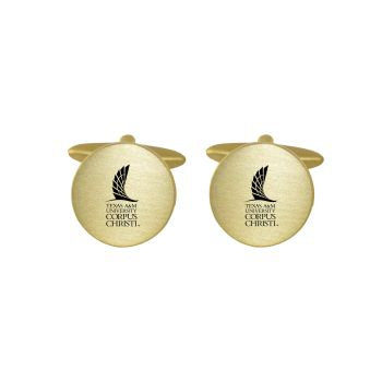 Brushed Metal Cuff Links-Texas A&M University-Corpus Christi-Gold