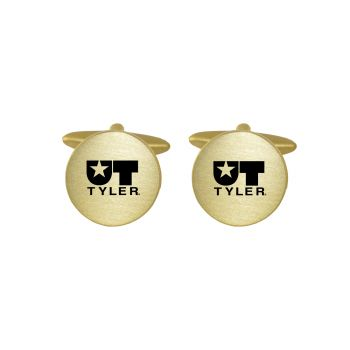 Brushed Metal Cuff Links-University of Texas at Tyler-Gold