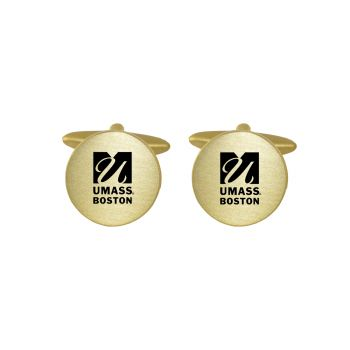 Brushed Metal Cuff Links-University of Massachusetts, Boston-Gold