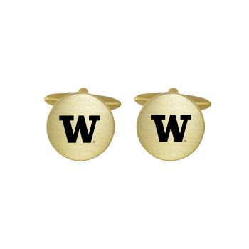 Brushed Metal Cuff Links-University of Washington-Gold