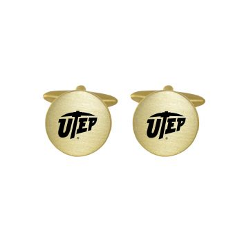 Brushed Metal Cuff Links-The University of Texas at El Paso-Gold