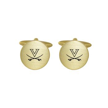 Brushed Metal Cuff Links-University of Virginia-Gold