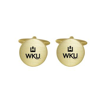 Brushed Metal Cuff Links-Western Kentucky University-Gold