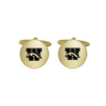 Brushed Metal Cuff Links-Western Michigan University-Gold