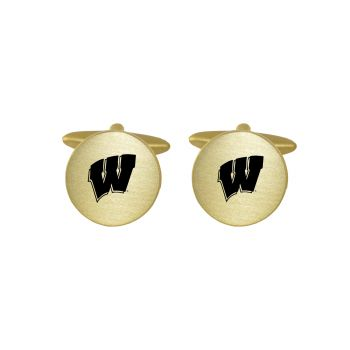 Brushed Metal Cuff Links-University of Wisconsin-Gold