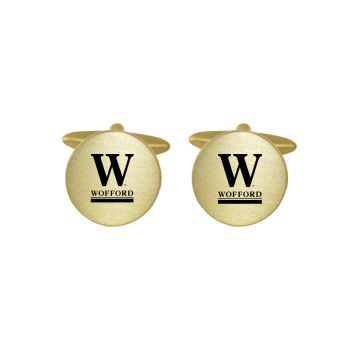Brushed Metal Cuff Links-Wofford College-Gold