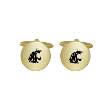 Brushed Metal Cuff Links-Washington State University-Gold