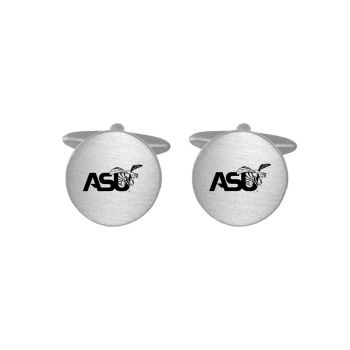Brushed Metal Cuff Links-Alabama State University-Silver