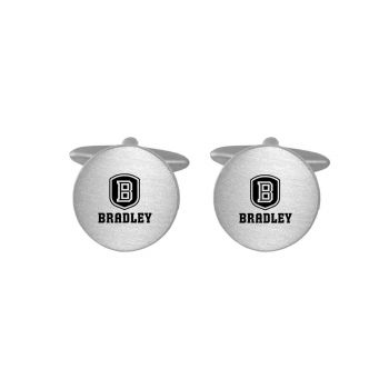 Brushed Metal Cuff Links-Bradley University-Silver