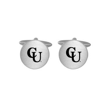 Brushed Metal Cuff Links-Campbell University-Silver