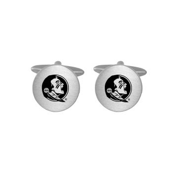 Brushed Metal Cuff Links-Florida State University-Silver
