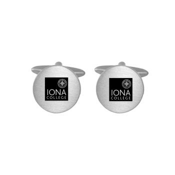 Brushed Metal Cuff Links-Iona College-Silver