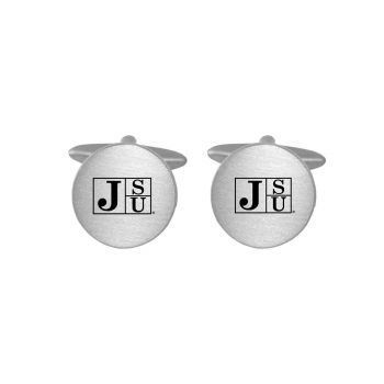 Brushed Metal Cuff Links-Jackson State University-Silver