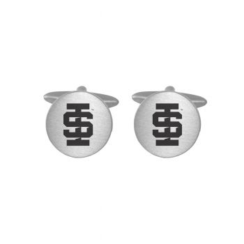 Brushed Metal Cuff Links-Idaho State University -Silver