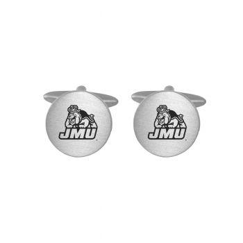 Brushed Metal Cuff Links-James Madison University-Silver