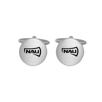 Brushed Metal Cuff Links-Northern Arizona University-Silver