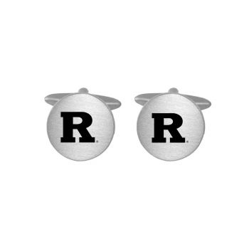 Brushed Metal Cuff Links-Rutgers University-Silver