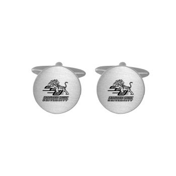Brushed Metal Cuff Links-Savannah State University-Silver