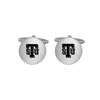 Brushed Metal Cuff Links-Tarleton State University-Silver