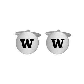 Brushed Metal Cuff Links-University of Washington-Silver