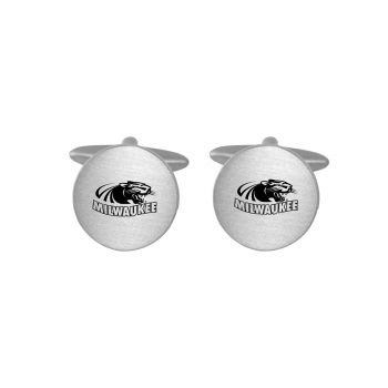 Brushed Metal Cuff Links-University of Wisconsin-Milwaukee-Silver