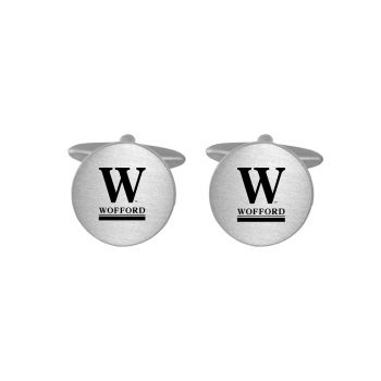 Brushed Metal Cuff Links-Wofford College-Silver