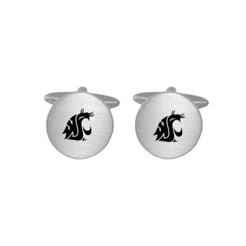 Brushed Metal Cuff Links-Washington State University-Silver