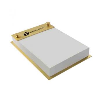 Brigham Young University-Contemporary Metals Notepad Holder-Gold