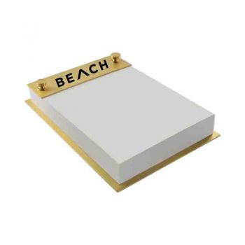 Long Beach State University-Contemporary Metals Notepad Holder-Gold