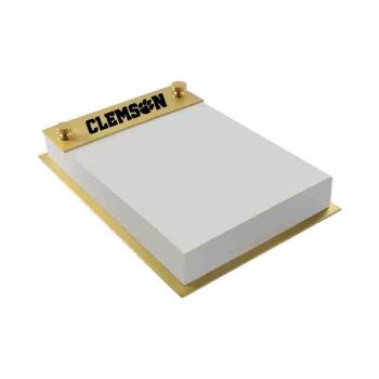 Clemson University-Contemporary Metals Notepad Holder-Gold