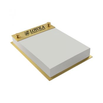 Loyola University Chicago -Contemporary Metals Notepad Holder-Gold