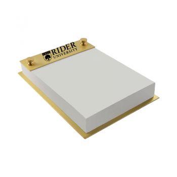 Rider University-Contemporary Metals Notepad Holder-Gold