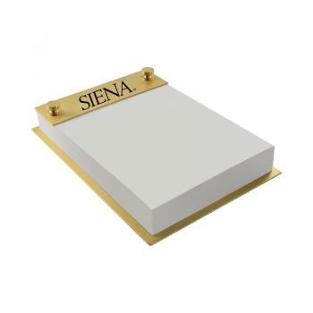 Siena College-Contemporary Metals Notepad Holder-Gold