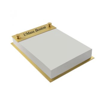 University of Massachusetts, Boston-Contemporary Metals Notepad Holder-Gold