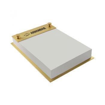 University of Arkansas-Contemporary Metals Notepad Holder-Gold