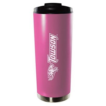 Towson University-16oz. Stainless Steel Vacuum Insulated Travel Mug Tumbler-Pink