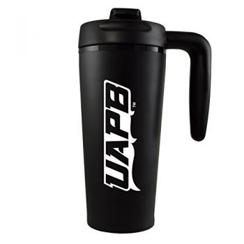 University of Arkansas at Pine Buff -16 oz. Travel Mug Tumbler with Handle-Black