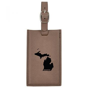 Michigan-State Outline-Leatherette Luggage Tag -Brown