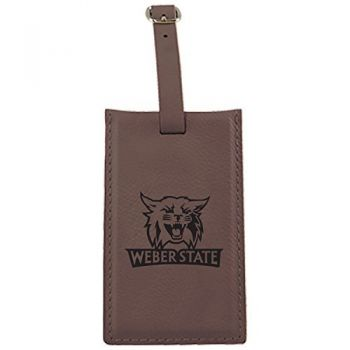 Weber State University -Leatherette Luggage Tag-Brown