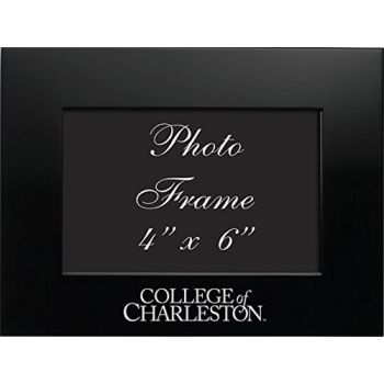 College of Charleston - 4x6 Brushed Metal Picture Frame - Black