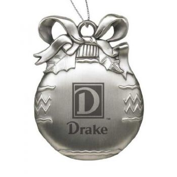 Drake University - Pewter Christmas Tree Ornament - Silver